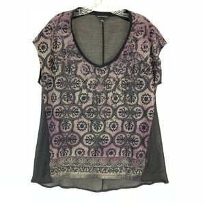 Rock & Republic Glitter Front Printed High Low Top